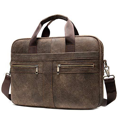 Kaijia Bolso de mensajero de cuero para hombres 14 pulgadas vintage bolso de ordenador portátil maletín grande escuela trabajo bolsa