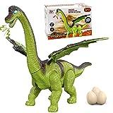 Juguete de dinosaurio GRESAHOM, juguete de animal que camina con luz y sonido, poniendo huevos, rugido al caminar, figura de juguete de braquiosaurio verde realista con ojos iluminados por LED