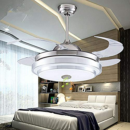 42 Inch Modern Retractable Ceiling Fans with Light Smart Bluetooth Music Player Chandelier 7 Colors Invisible Blades with Remote Control