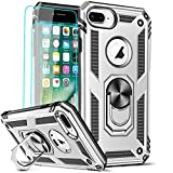 LeYi Compatible for iPhone 8 Plus Case, iPhone 7 Plus Case, iPhone 6 Plus Case with [2Pack] Tempered Glass Screen Protector, Military-Grade Phone Case with Ring Kickstand for iPhone 6s Plus, Silver
