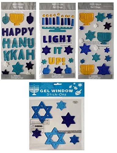 Hanukkah-Chanukah Window Gel Cling Décor | Stars of David, Menorahs, Dreidels, 'Happy Hanukkah', and More - 4 Sheet Bundle