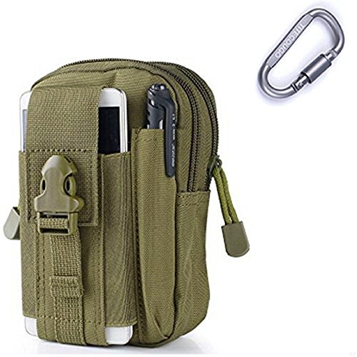 GADIEMENSS Hang Pocket Military Tactical EDC Utility Gadget Belt Waist Bag For iPhone Holster Outdoor Sports Hiking Camping Riding Running (Army green)