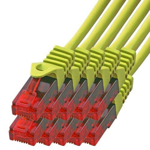 BIGtec - 10 Stück - 0,75m Gigabit Netzwerkkabel Patchkabel Ethernet LAN DSL Patch Kabel gelb (2X RJ-45 Anschluß, CAT.5e, kompatibel zu CAT.6 CAT.6a CAT.7) 0,75 Meter
