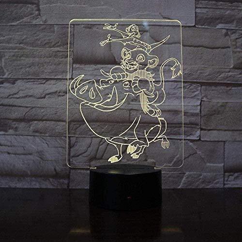 Lampe illusion 3D King Simba Veilleuse Convient aux enfants Famille Amis Anniversaire Valentine Meilleurs cadeaux pour Noël USB 7 couleurs (télécommande)