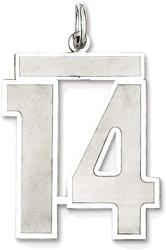 Sterling Max 69% quality assurance OFF Silver Large Satin Charm Number 14