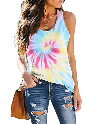 CUQY Womens Tie Dye Shirt Loose Fit Racerback Tops Athletic Sleeveless Workout Clothing(CQ0025-Yellow Tie Dye-L)
