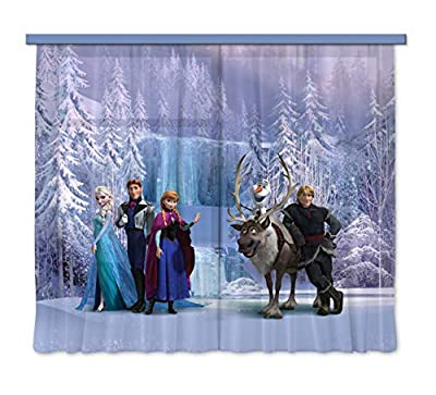 """""""Disney Frozen All Characters"""" Children's Room Curtain, Multi-Colour, 180 x 160 cm By AG Design"""