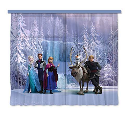 Disney AG Design Frozen Kindergordijnen/3D fotoprint, Polyester, Multi kleuren, 180 h x 160 l centimeter