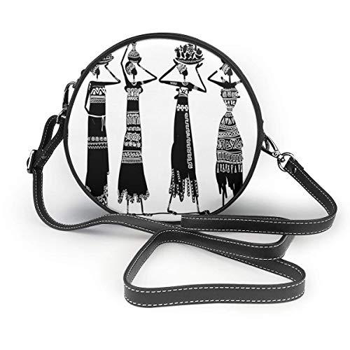 Estilo tribal africano Moda para mujer Bolso bandolera redondo Bolso pequeño Cartera Bolsa de trabajo escolar