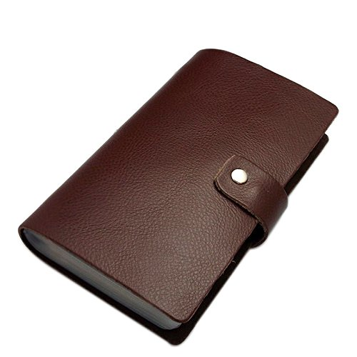 Boshiho Leather Credit Card Holder Business ID Card Case Book Style 90 Count Name Card Holder Book (Brown)