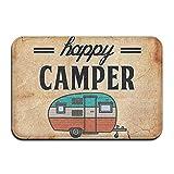Happy Camper campeggio zerbino zerbino tappetino tappeto indoor/outdoor/Front Door/bagno tappetini in gomma antiscivolo, motivo: 61x 91,4cm 40CMX60CM £, White, taglia unica
