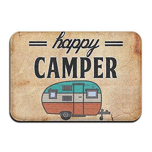 Felpudo para puerta de camping Happy Camper, alfombra de piso para interior/exterior/puerta delantera/alfombrilla de baño de goma antideslizante, 40 x 60 cm