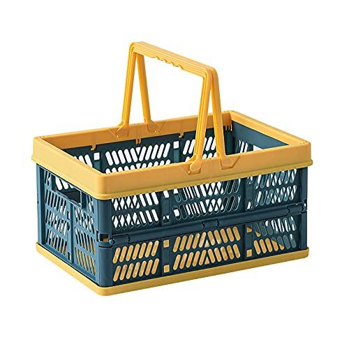 OVBBESS Cesta de la compra plegable portátil plegable caja de almacenamiento apilable contenedores contenedores con asa para el jardín de comestibles azul