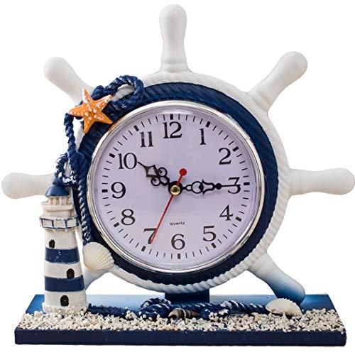 S.W.H Timón Reloj de Mesa Moderno Mediterráneo sin Tictac