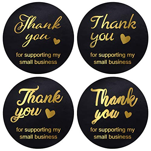 """Thank You Sticker, 2"""" Thank You Stickers Small Business 500 Round Labels Per Roll Golden Hot Gold Fonts, Logo Stickers for Business"""