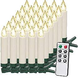 30 LED Weihnachtsbaumkerzen Kabellos Warmweiß Fernbedienung Timerfunktion Flackern Dimmbar Kerzen