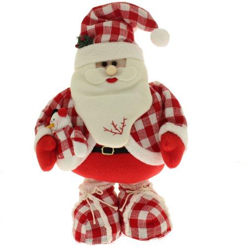 WeRChristmas decoratief figuur voor Kerstmis, vrijstaande kerstman, om neer te zetten op de vloer, met verstelbare voeten, 40-56 cm, Schotse ruiten, rood/wit
