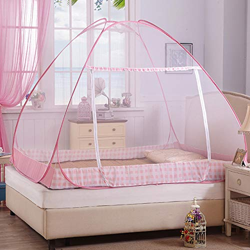Draagbaar muskietennet, stapelbed voor studenten, opklapbaar muskietennet, hoge kwaliteit gaas campingtent, muggennet, dubbel muggennet, 1,0 m (3,3 ft) bed roze