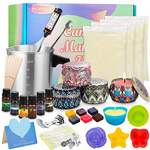 Popolic Candle Making Kit Supplies DIY Scented Soy Candles Colored Candle Craft Set by Soy Wax, Tins-Random Pattern,Fragance Oil, Dyes, Wicks, Silicone Mold,Pot& More for DIY Candle Making Beginners