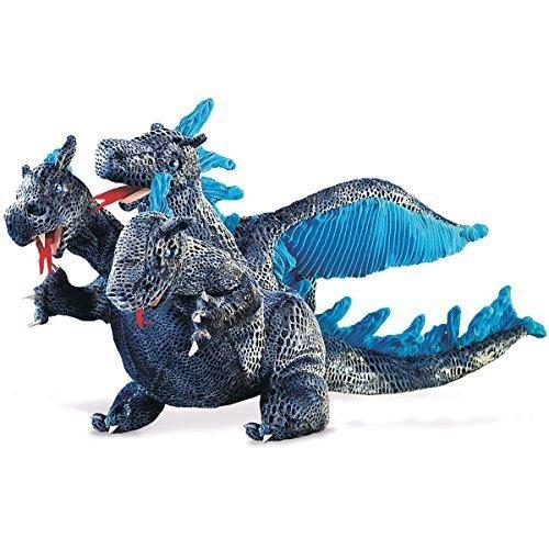 Marioneta de dragón azul de tres cabezas de Folkmanis