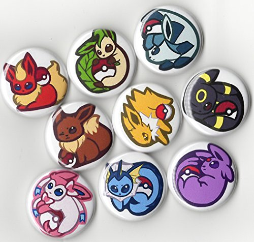 "Pokemon Eeveelution Buttons Set - 9 Piece 1"" inch Pin Back - Umbreon Esepon Sylveon Jolteon Glaceon"