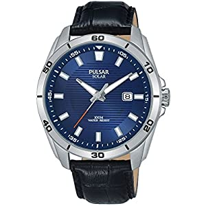 PULSAR- SOLAR GENTS STAINLESS STEEL BLUE DIAL STRAP WATCH