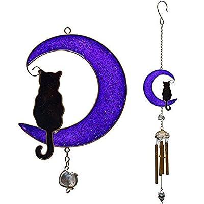 Wind Chime Cat-on a-Moon Metallic Finish OGD211
