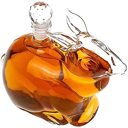 QJTZ Tarro de Vino de Vidrio en Forma de Conejo, 500 ml Botella en Forma de Animal Whisky Decanter Reutilizable Barra de Barras artística Botella de Cristal Botellas de artesanía 0514