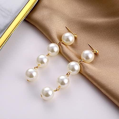 FEARRIN Pendientes para Mujer Stud Pendientes Largos de Perlas simuladas para Mujer Pendientes Colgantes de Boda de Perlas Redondas Blancas Joyería H189-ZL1311