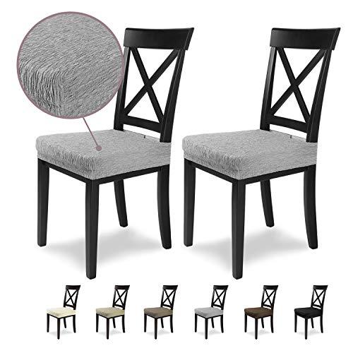 SCHEFFLER-Home Stretch Stuhlbezug Jara   2er Set elastische Stuhlauflagen in feinem Raff-Look   Sitzbezug Esszimmerstuhl   Elegante Auflage für Stühle   Stuhlhussen Stretch mit Gummiband
