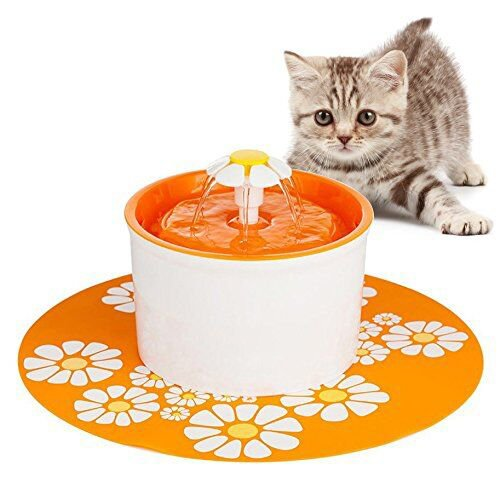 MLCINI Pet Flower Fountain Automatic Electric Water Bowl with Filter and Silicone Mat for Dogs and Cats Birds Parrots Drinking (Orange)