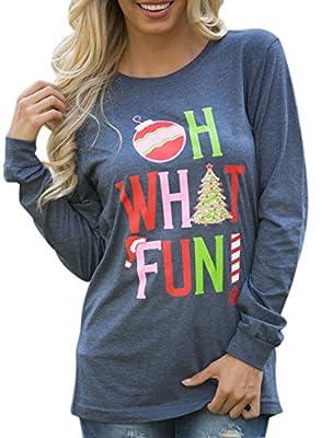 Ezcosplay Women Long Sleeve OH What Fun Print T-Shirt Christmas Top Casual Tunic Blue