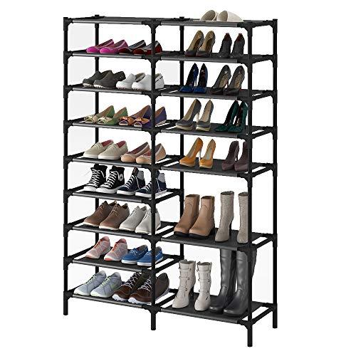 9 Tiers Shoe Rack,Showin Large Shoe Storage Organizer for 30-40Pairs, Waterproof Fabric Shoe Storage Cabinet Space Saving Shoe Shelf (9Ties)