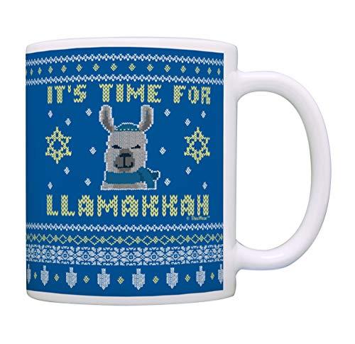 Llama Hanukah Mug It's Time for Llamakkah Funny Jewish Gifts Hanukkah Present Coffee Mug Tea Cup Blue