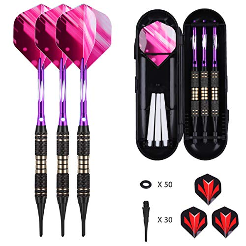 Soft tip Darts Set 18 Gram - Professional Darts Plastic Tip with Brass Barrel + Green Aluminum...