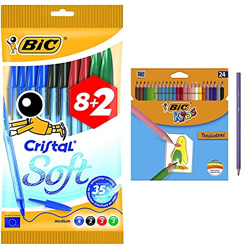 Bic cristal soft bolígrafos de punta media, escritura fluida, blíster de 8 + 2 unidades + Kids Lápices de Colores para Niños, Óptimo para material escolar,Tropicolors