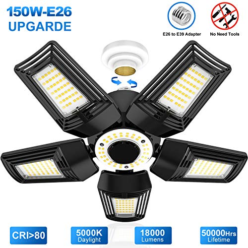 LED Garage Lights, 150W Deformable Garage Ceiling Lighting E26 Base CRI 80 18,000LM 5000K Daylight Super Bright LED Shop Light for Garage Warehouse Basement Workshop Street Area Barn Backyard Carports