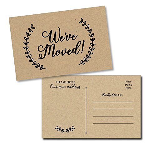 50 Moving Announcement Postcards - Fill in the Blank Change of Address - Rustic Kraft We've Moved Postcards, Change of New Address Moving Announcements, House Warming Gifts, Weve Moved Cards