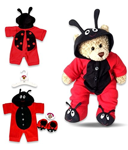 Baue Dein Bears Kleiderschrank Teddybär Kleidung Fleece (rot/schwarz)