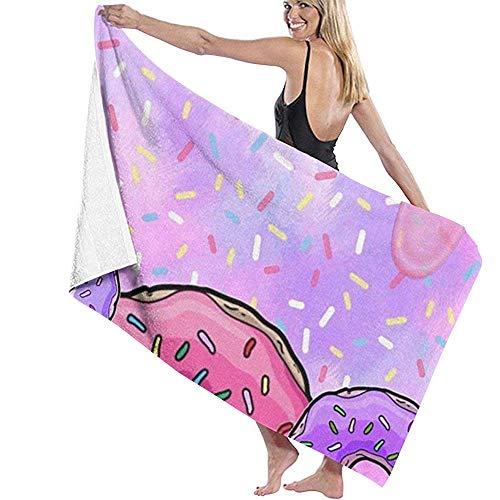 Babydo Toalla de Piscina Donut Ice Cream Prints Womens Shower Swimming SPA Toallas de Piscina Albornoz Cover Up Toallas de Playa Toallas de baño