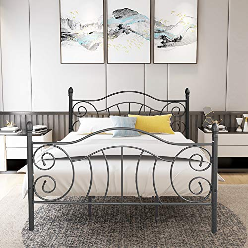 Queen Size Metal Bed Frame with Headboard, Mattress Foundation, Box Spring Replacement, Black