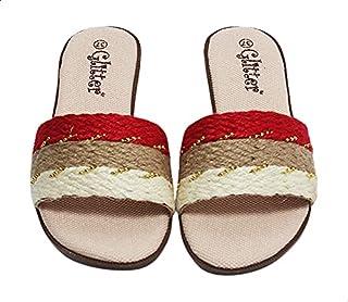 Glitter Color Black Round Toe Flat Slides For Women