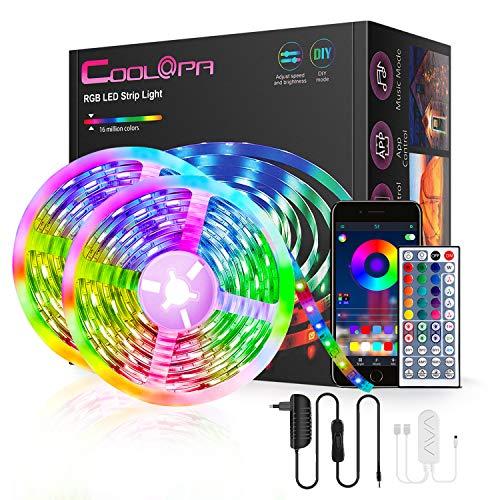 COOLAPA LED Strip 20m RGB LED Lichterkette Streifen Lichtband mit Fernbedienung,Bluetooth LED Streifen Musical,Farbwechsel Hell 5050 LED Band Leiste Lichterketten Klebeband Selbstklebende für Zuhause