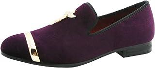Mocassins Velours Flats Confortables Mariage Casual Homme Chaussures Pantoufle Slip-on Loafers Boucle en Métal Noir Violet...