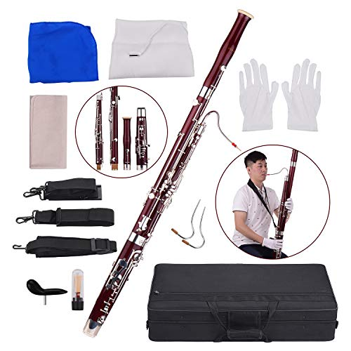Bassoon,Muslady C Key Maple Wood Body Woodwind Instrument with Reed Cleaning Cloth Carrying Case