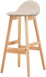 Mozusa Taburete de la barra del escritorio del ordenador taburete de cocina de madera barra de taburetes con simple madera dura durable y con estilo creativo Silla de la barra de desayuno Barra de coc