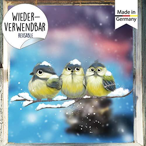 Wandtattoo Loft Fensterbild Weihnachten Vogel Kind Meisen Wiederverwendbare Fensteraufkleber Fensterdeko Kinder