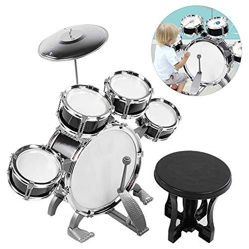 Ensemble de batterie junior Ensemble de batterie, jouet de tambour, instrument de musique pour bébés garçons débutants(586-104 black)