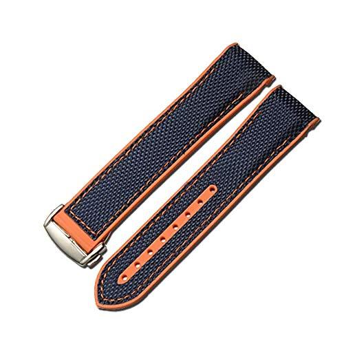 FOUUA Cinturino dell'orologio 22mm Cinturino del cinturino Fibbia pieghevole in silicone e tela adatta per Omega [SpeedMaster] [Seamaster] [De Ville]