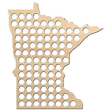 Minnesota Beer Cap Map - 19x21 inches - 91 caps - Beer Cap Holder Minnesota - Birch Plywood
